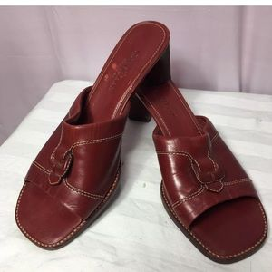Cole Haan Mules Country 8 Red Leather Heel